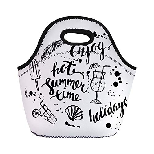 Semtomn Lunch Bags Vintage Hawaii Summer Ink Sketch Stains and Time Lettering Neoprene Lunch Bag Lunchbox Tote Bag Portable Picnic Bag Cooler Bag