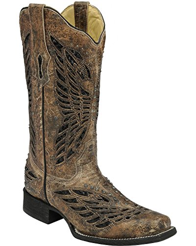 CORRAL Women's Butterfly Sequin Inlay Cowgirl Boot Square Toe Tan 8 M US