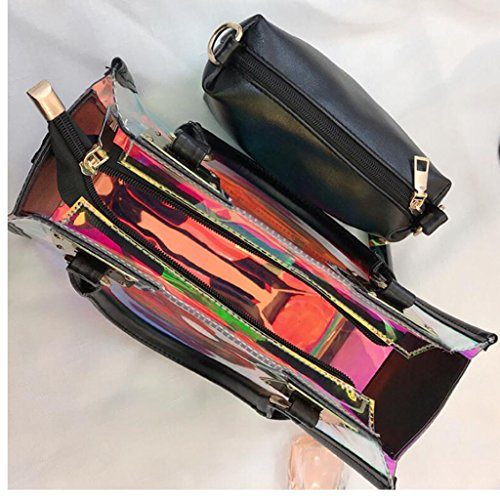 Main Hologramme Fourre Sac À Sac Main Tout PPGE Mode Bandoulière À Transparent À Sac Black 4q8Ht