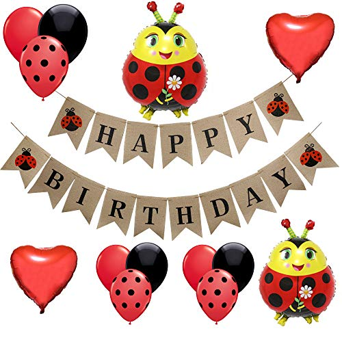 (Ladybug Birthday Party Decorations-1 Happy Birthday Burlap Banner, 2 Ladybug and 2 Heart Shaped Mylar Balloons,16 Black Red Dot Latex Balloons,Lady Bug Party Supplies and Favors for Kids Girls First 1st 2nd 3rd 4th 5th Bday )