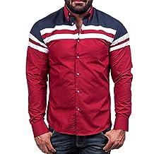 WM&MW Plus Szie Men Shirt,Fashion Male Camisas Stripe Patchwork Slim Fit Casual Business Shirt