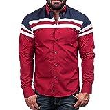 WM&MW Plus Szie Men Shirt,Fashion Male Camisas Stripe Patchwork Slim Fit Casual Business Shirt (L (Asia:XL))