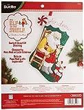 Bucilla 18-Inch Christmas Stocking Felt Applique Kit, 86509 Santa and Scout Elf