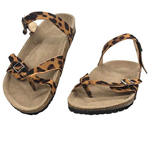 (Fandicto Women's Gladiator Sandals Buckle Strapped Flat Sandals Beach Flip Flops Split Toe)