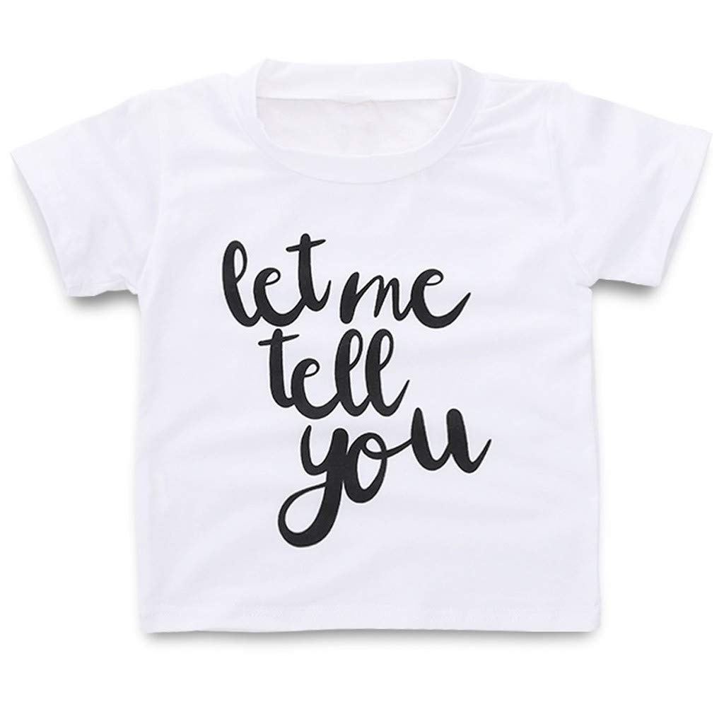 Toddler Kids Baby Boys Girls Pullover Tops Clothes,Letter Print Short Sleeve T-Shirt Blouse 0-4 Years