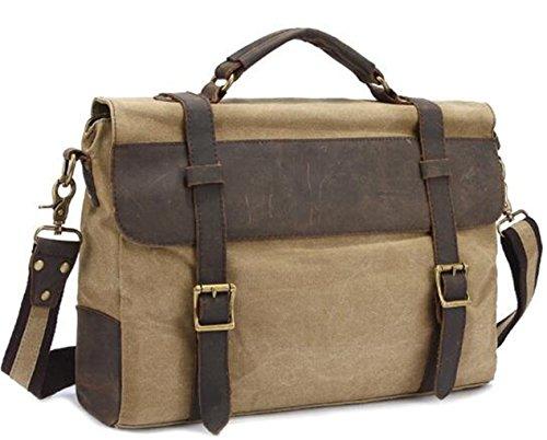 Vintage Canvas Shoulder Bookbag Khaki Leather Naughtybags Bag Messenger RdxnCgg6