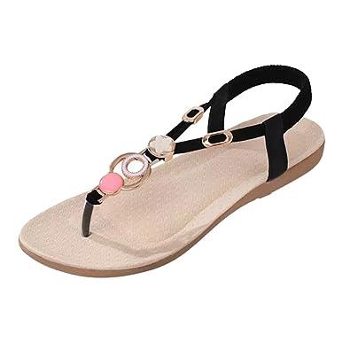 15c545f69a62 YOUJIA Women s Rhinestone Clip Toe Summer Slipper Sandals Elastic T-Strap  Bohemia Roman Sandals Post