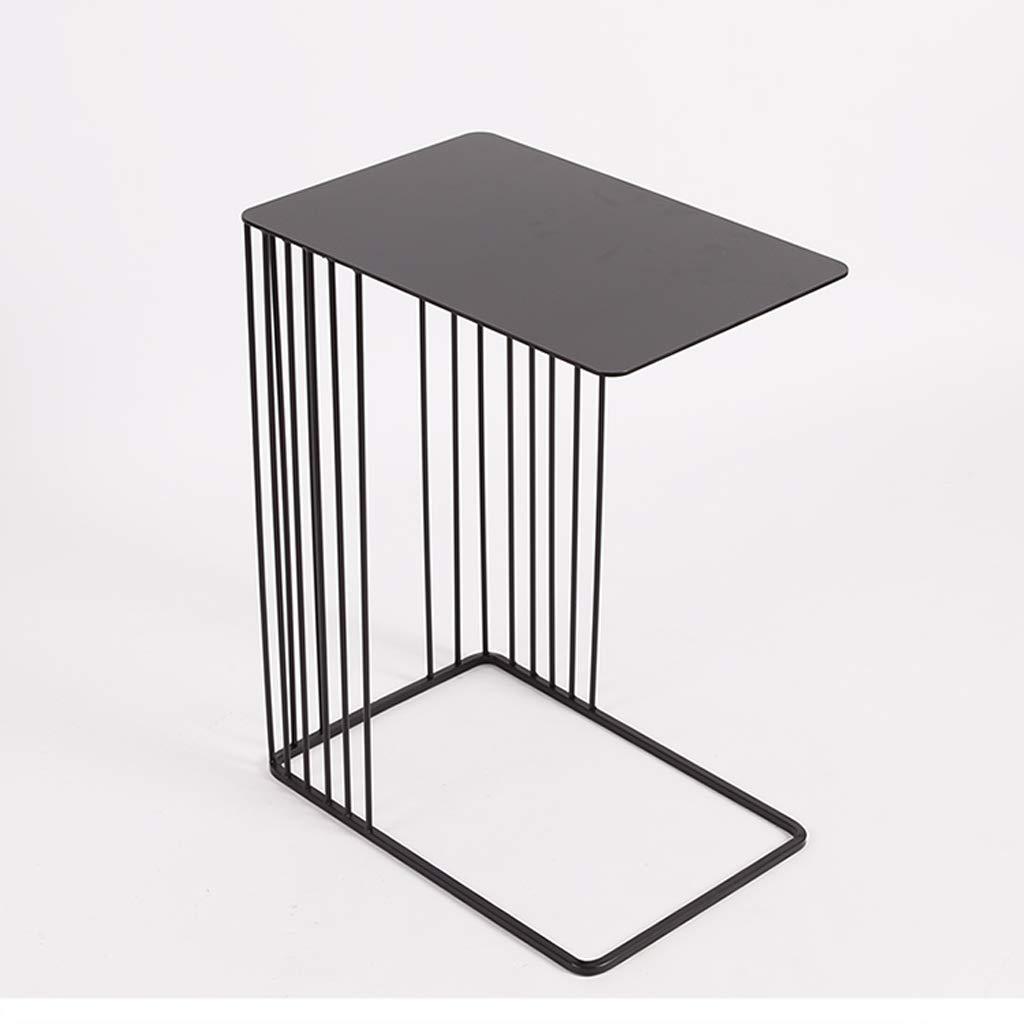 QYSZYG クリエイティブな長方形のリビングルームのパーラーの小さなコーヒーテーブルシンプルなミニコーヒーテーブルのモダン鍛造鉄カジュアルブラック小さなテーブル 小さなコーヒーテーブル (色 : 黒)  黒 B07MXFC6BW