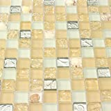 Yellow Conch Tile Crystal Glass Mosaic Frosted Countertops backsplash White Kitchen Wall Tiles Borders Sheets (1PCS Small Sample 2.8x5.9 Inches)