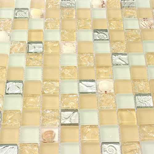 Yellow Conch Tile Crystal Glass Mosaic Frosted Countertops backsplash White Kitchen Wall Tiles Borders Sheets (1PCS Small Sample 2.8x5.9 Inches) by AEENC