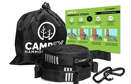 XL Hammock Straps & Carabiners – 3x Stronger Loop System, 4000 LBS Breaking Strength, Fail Resistant Reinforced Stitching, No Stretch Webbing, Combined 24FT Long, 40 Loops, Tree Friendly by CAMPFY