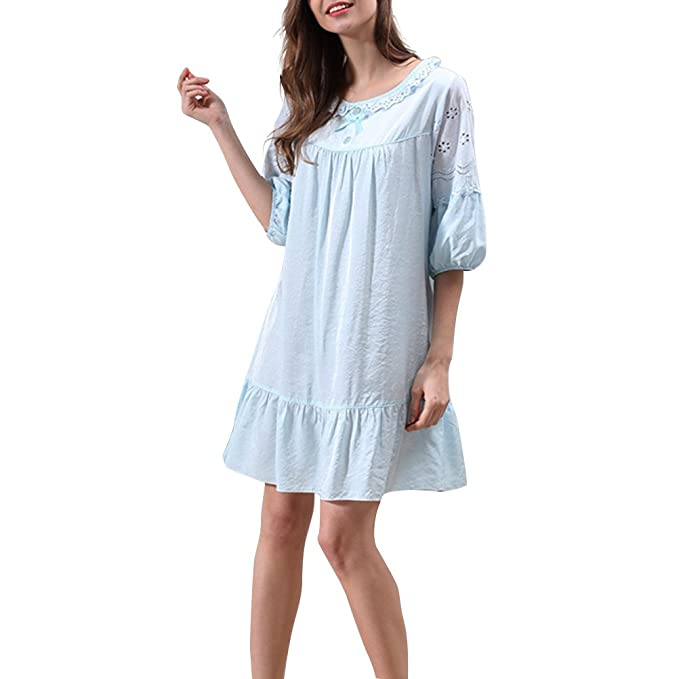 Oudan Pijama Mujer Verano Sexy Escote Redondo con Flor,Ropa de Dormir de Algodón Grande