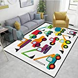 Construction Rug pad Cute Style Vehicles and Heavy Equipment Forklift Earthmover Excavator Mixer Carpet Squares Multicolor Area 4'x6' -  ParadiseDecor