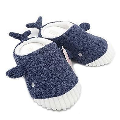Millffy Cute Whale Plush Slippers Japanese Girl Plush Shark Soft Bottom Indoor Floor Home Flat Floor Shoes (Women US 5/6 or UK 3/4 or EU 36/37, Navy Blue)