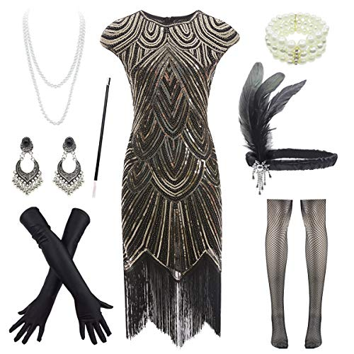 1920s Flapper Dress Roaring 20s Great Gatsby Fringed Sequin Dress Accessories -