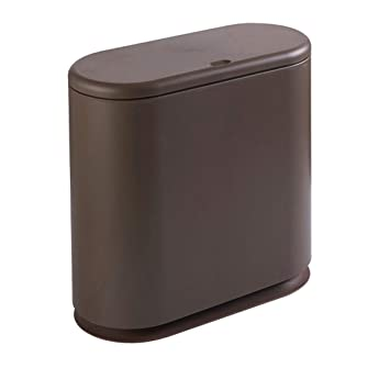 Nafenai Bathroom Trash Can with Press Top Oval Slim Kitchen Waste Bin, 4.2  Gallon/15.6 Liter Capacity, Brown