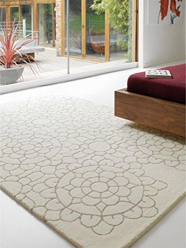 benuta Teppiche: Moderner Designer Wollteppich Matrix Crochet Weiß 120x170 cm - schadstofffrei - 100% Wolle - Ornament - Handgetufted - Wohnzimmer