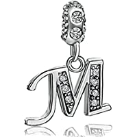 JMQJewelry Letter Charm Initial A-Z Alphabet Beads Dangle Crystal Charms Bracelets