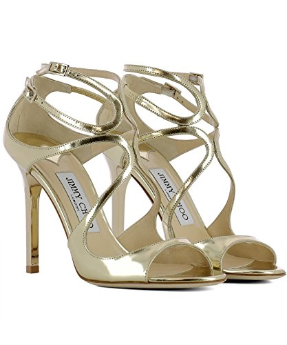 Jimmy Choo Women's LANGMLEGOLD Gold Leather Sandals d6f9UD3Cx