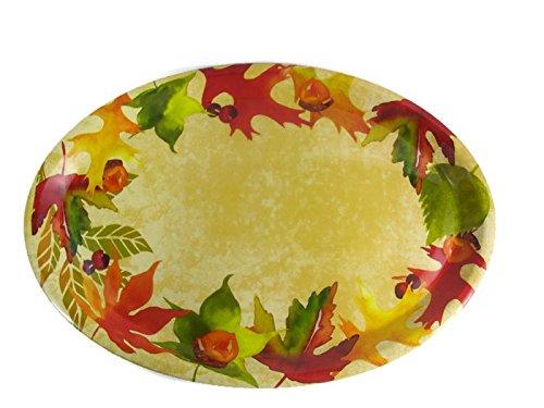 Blossom Oval Serving Platter - Vibrant Fall Leaves/Acorns Theme Oval Serving Platter - 16 1/2 Inches x 11 1/2 Inches