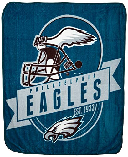 Sports Throw - The Northwest Company Officially Licensed NFL Philadelphia Eagles Grand Stand Plush Raschel Throw Blanket, 50