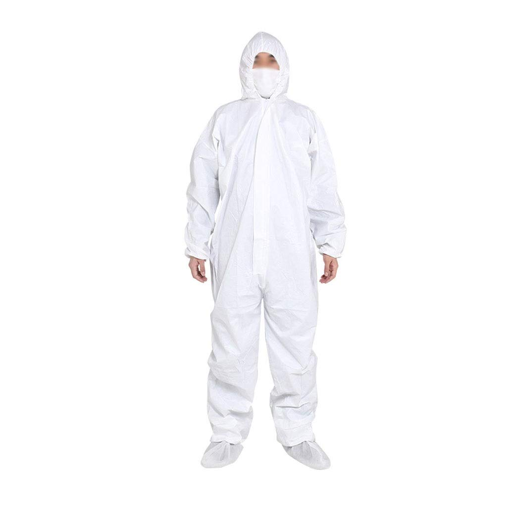 YYTL Disposable Coveralls,Disposable Non-Woven Protective Clothing, Breathable Waterproof and Dustproof Spray Paint, Used for Painting Food Processing -10 Pieces (Color : Without a Foot, Size : XL) by YYTL