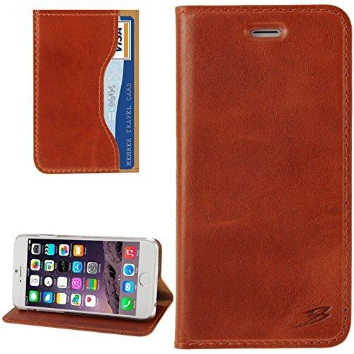 Para iPhone 4,7 pulgadas Caso, Para iPhone 6 y 6S Waxed Genuine Cow Funda de cuero con tapa y ranura para tarjeta (4.7 pulgadas) ( Color : Brown ) Brown