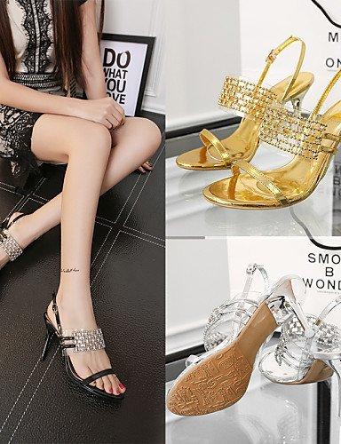 ShangYi Schuh Damenschuhe-Sandalen-Hochzeit / Festivität-Leder Kleid / Party & Festivität-Leder / / Kunststoff-Stöckelabsatz-Absätze-Schwarz / Silber / Gold  golden 653bd7