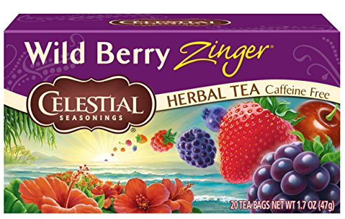Celestial Seasonings Herbal Tea, Wild Berry Zinger, 20 Count per box, Pack of 6