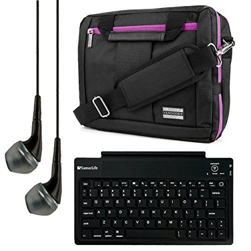 El Prado Collection 3 in 1 Backpack and Messenger Bag for Vulcan Venture 11.6'' Notebook + Bluetooth Keyboard + Headphones (Purple) by Vangoddy