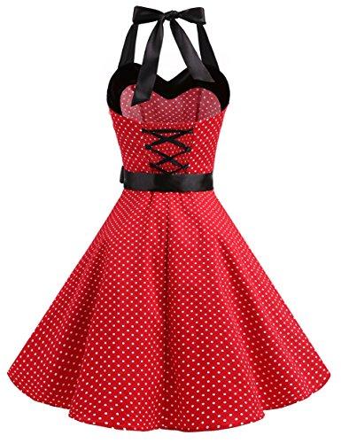 Dresstells® 50s Polka Halter Rockabilly Dots White Red Dot Dress Audrey Retro Small Cocktail Dress 4qxgHTw