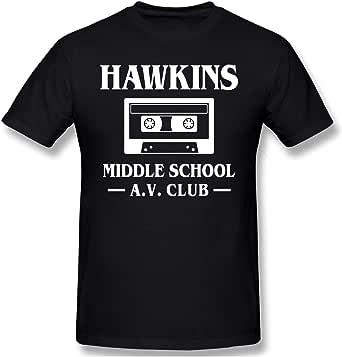 Sangning Men's Round Neck T-Shirt Ultra Soft Hawkins Middle School A.V. Club Design Short Sleeve T-Shirts