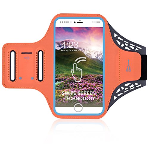 Exercise Sport Running Armband Phone Pouch Card Slot Headphone Hole Compatible iPhone Xs Max / 8 Plus/Blu Vivo XL3 / LG V40 ThinQ/Moto Z3 Play / G6 Play/OnePlus 6T / Google Pixel 3 XL (Orange)