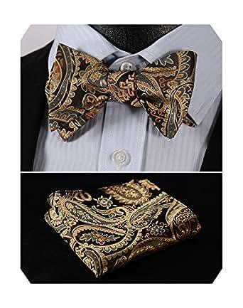HISDERN Men's Paisley Jacquard Woven Self Bow Tie Pocket Square Set Gold/Brown