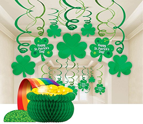 St. Patrick's Day Party Décor Set with Lucky Irish Foil Swirls and Pot-O-Gold Centerpiece - Bundled by Maven Gifts - St Patrick Catholic Costume