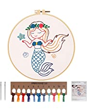 MWOOT Embroidery Cross Stitch Stamped Kit, DIY Embroidery Starter Kit Handmade Sewing Craft for Adults and Kids Beginner Stitch Starter (Mermaid)