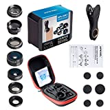 Apexel 7 in 1 Universal Clip HD Camera Lens Kit Zoom Telephoto Lens + Fisheye + Wide Angle + Macro Lens + CPL + Kaleidoscope + Super Wide Lens for iPhone Samsung HTC Google Huawei LG