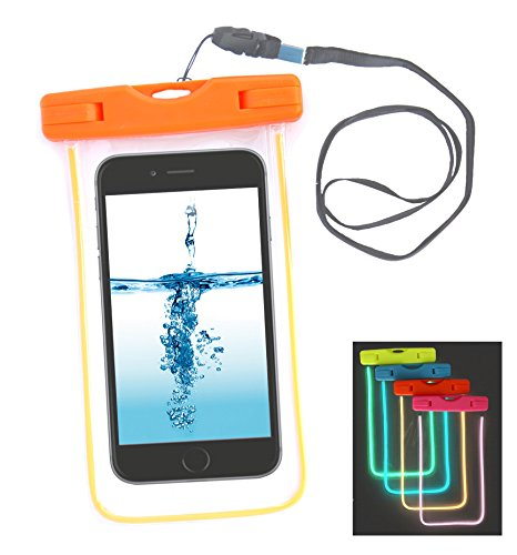 eCosmic Universal Fluorescent Waterproof Case Bag. Waterproof Pouch Bag Case with Touch Responsive Front and Transparent Screen Protector for iPhone, Samsung Galaxy, Note, LG, HTC, Sony, Huawei Manufa Orange