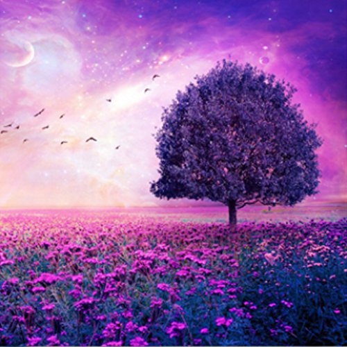 MXJSUA DIY 5D Diamond Painting by Number Kits Full Drill Rhinestone Embroidery Cross Stitch Pictures Arts Craft for Home Wall Decor,The Tree in Purple Flowers - 11.8x11.8 inches (Craft Tree Kit)