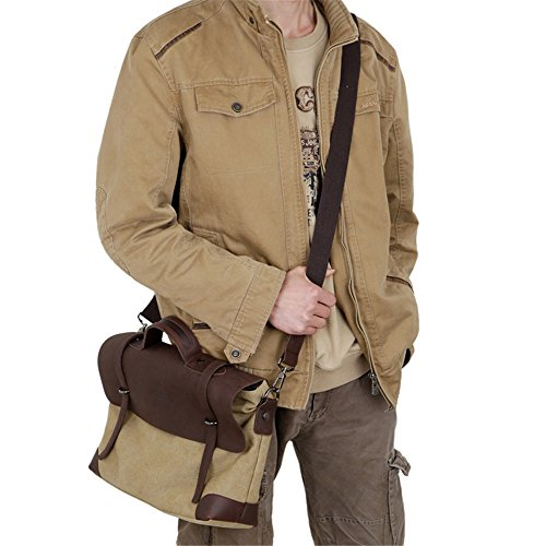 Business Laptop Messenger Shoulder Casual Bag For Purse Wenjack Canvas Travel Unisex color Khaki Man Bags Work Crossbody Khaki Men's ABZBSx