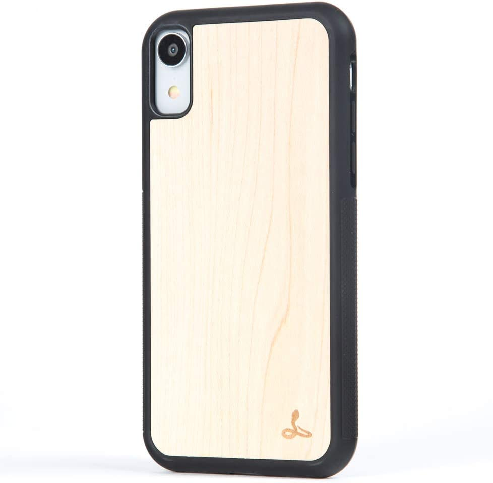 Snakehive iPhone XR Case, Wood Back Case Wood Cover for iPhone XR - Made from Real Wood - (Maple)