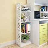 Storage Tower Environmental Protection Modern Mini Bookshelf Children's Bookcase Storage Unit Floor Place Dormitory Drawer Storage Rack (4 Layer,White,Wood-plastic Board)