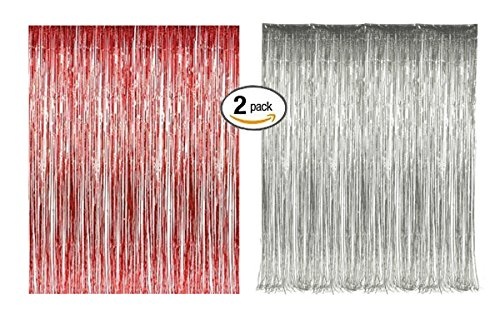 Red Silver Foil Fringe Door & Window Curtain Party Decoration 3' X 8' (36