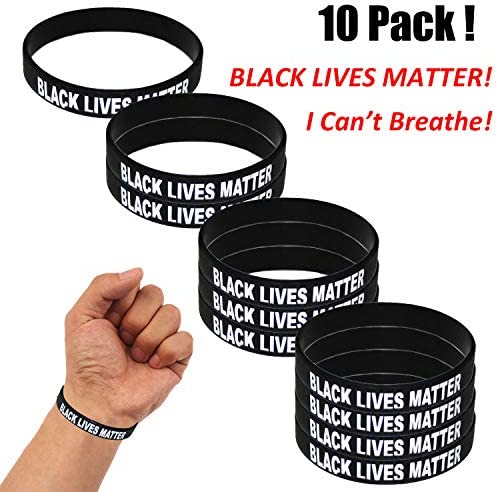 JETTINGBUY Black Lives Matter I Can`t Breathe Silicone Bracelets Mens Women Silicone Inspirational Rubber Bracelet Fashion Jewelry Wristband Gift for Children and Adults (10 Pcs Type B)