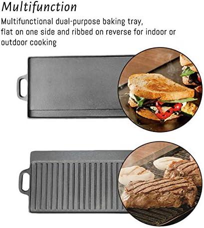 Poêle à Frire en Fonte Poêle à Steak antiadhésive Plaque de Cuisson en Plein air Épaissie Pot de Barbecue Non revêtu Plaque de Fer à Double Face 44x23x2cm