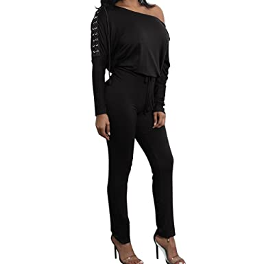 9b06367ba3e Image Unavailable. Image not available for. Color  Enggras Women s Lace-up  Off One Shoulder Jumpsuits Long Pants Party Club Rompers Black XL