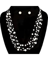 6 Strand Cream Classic Illusion Galactic Pearl Bridal Necklace and Earrings Set
