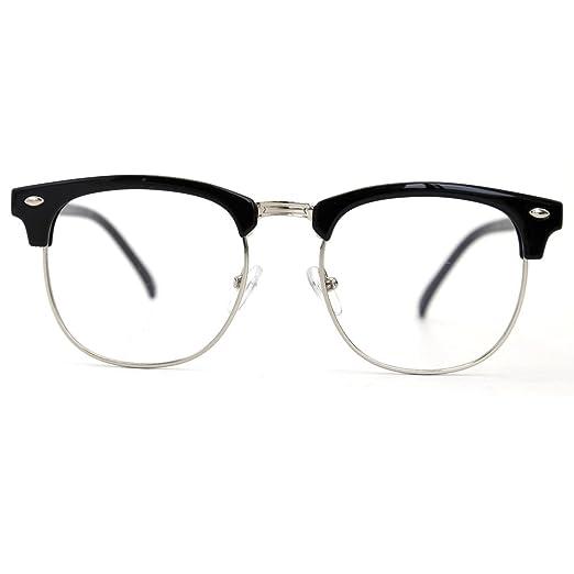 9a21ffe039 Natwve Co Retro Half Frame Semi-Rimless Eyeglasses Vintage Designer Glasses  (806) (Black