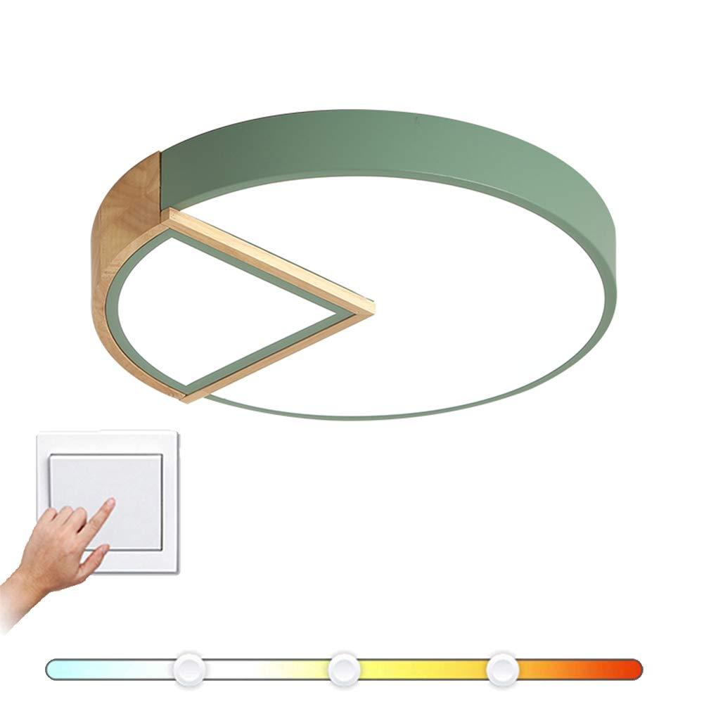 VinDeng Runde LED Deckenleuchte 16 zoll, 24W Ultradünn Deckenlampe Für Schlafzimmer Wohnzimmer Kinderzimmer Pendellampe Mit Holz Acryl Macarons-grün Trichromes Dimmen
