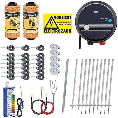 VOSS.PET Kit Valla eléctrica para Animales pequeños medianos y Grandes, Set Completo 230 V, con Pastor eléctrico